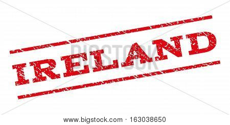Ireland watermark stamp. Text tag between parallel lines with grunge design style. Rubber seal stamp with dust texture. Vector red color ink imprint on a white background.