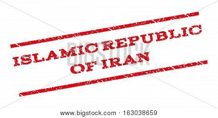 Islamic Republic Of Iran watermark stamp. Text caption between parallel lines with grunge design style. Rubber seal stamp with scratched texture. Vector red color ink imprint on a white background.
