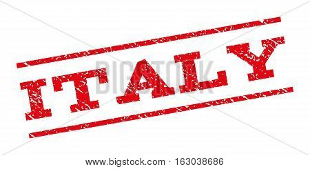 Italy watermark stamp. Text caption between parallel lines with grunge design style. Rubber seal stamp with scratched texture. Vector red color ink imprint on a white background.