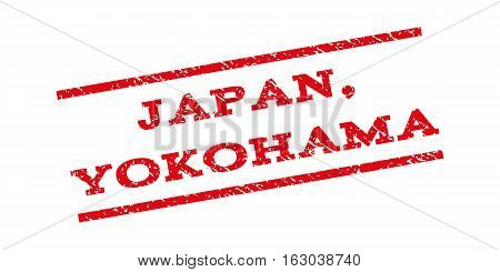 Japan Yokohama watermark stamp. Text caption between parallel lines with grunge design style. Rubber seal stamp with unclean texture. Vector red color ink imprint on a white background.