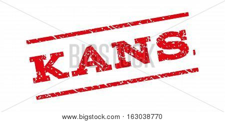 Kansas watermark stamp. Text tag between parallel lines with grunge design style. Rubber seal stamp with scratched texture. Vector red color ink imprint on a white background.