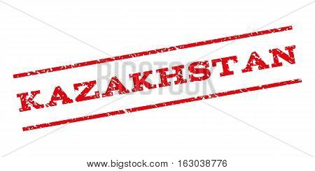 Kazakhstan watermark stamp. Text tag between parallel lines with grunge design style. Rubber seal stamp with unclean texture. Vector red color ink imprint on a white background.
