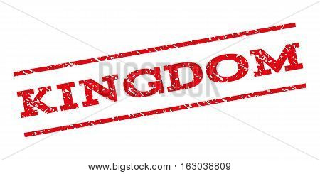 Kingdom watermark stamp. Text tag between parallel lines with grunge design style. Rubber seal stamp with dust texture. Vector red color ink imprint on a white background.