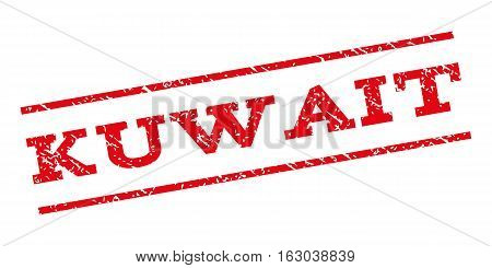 Kuwait watermark stamp. Text caption between parallel lines with grunge design style. Rubber seal stamp with unclean texture. Vector red color ink imprint on a white background.