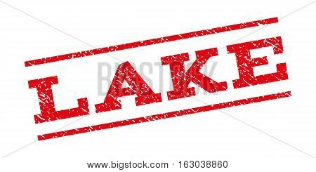 Lake watermark stamp. Text tag between parallel lines with grunge design style. Rubber seal stamp with dust texture. Vector red color ink imprint on a white background.