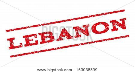 Lebanon watermark stamp. Text tag between parallel lines with grunge design style. Rubber seal stamp with unclean texture. Vector red color ink imprint on a white background.