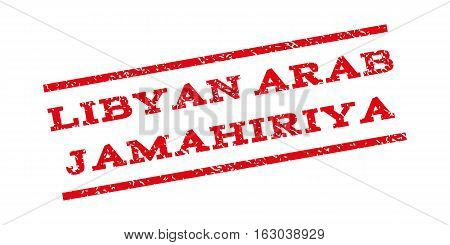 Libyan Arab Jamahiriya watermark stamp. Text caption between parallel lines with grunge design style. Rubber seal stamp with dust texture. Vector red color ink imprint on a white background.