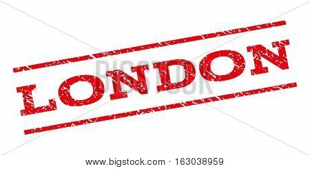London watermark stamp. Text tag between parallel lines with grunge design style. Rubber seal stamp with dirty texture. Vector red color ink imprint on a white background.