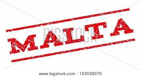 Malta watermark stamp. Text caption between parallel lines with grunge design style. Rubber seal stamp with unclean texture. Vector red color ink imprint on a white background.