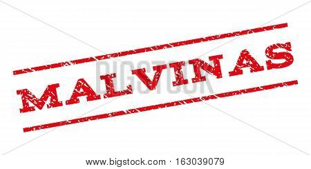 Malvinas watermark stamp. Text tag between parallel lines with grunge design style. Rubber seal stamp with scratched texture. Vector red color ink imprint on a white background.