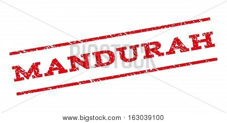 Mandurah watermark stamp. Text tag between parallel lines with grunge design style. Rubber seal stamp with scratched texture. Vector red color ink imprint on a white background.