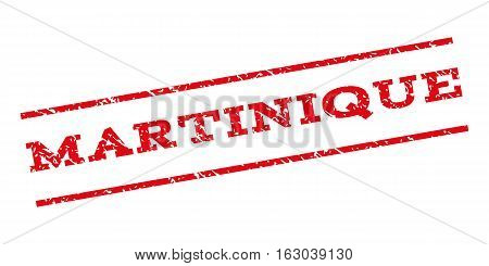 Martinique watermark stamp. Text caption between parallel lines with grunge design style. Rubber seal stamp with unclean texture. Vector red color ink imprint on a white background.