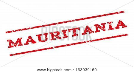 Mauritania watermark stamp. Text tag between parallel lines with grunge design style. Rubber seal stamp with dirty texture. Vector red color ink imprint on a white background.