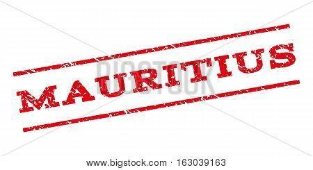Mauritius watermark stamp. Text tag between parallel lines with grunge design style. Rubber seal stamp with dust texture. Vector red color ink imprint on a white background.