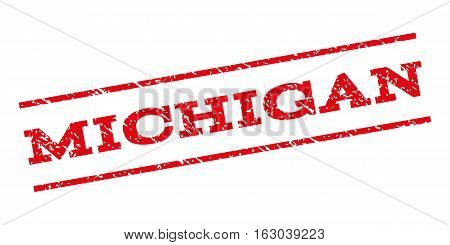 Michigan watermark stamp. Text tag between parallel lines with grunge design style. Rubber seal stamp with scratched texture. Vector red color ink imprint on a white background.