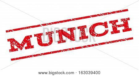 Munich watermark stamp. Text tag between parallel lines with grunge design style. Rubber seal stamp with unclean texture. Vector red color ink imprint on a white background.