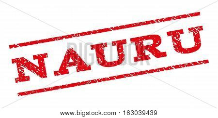 Nauru watermark stamp. Text caption between parallel lines with grunge design style. Rubber seal stamp with dirty texture. Vector red color ink imprint on a white background.