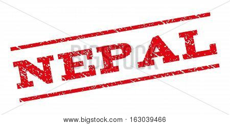 Nepal watermark stamp. Text caption between parallel lines with grunge design style. Rubber seal stamp with dust texture. Vector red color ink imprint on a white background.