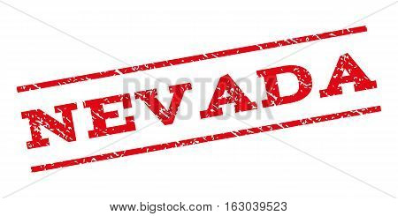 Nevada watermark stamp. Text caption between parallel lines with grunge design style. Rubber seal stamp with unclean texture. Vector red color ink imprint on a white background.