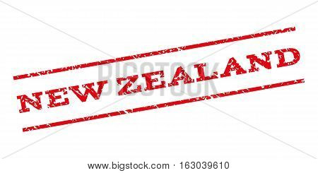 New Zealand watermark stamp. Text caption between parallel lines with grunge design style. Rubber seal stamp with scratched texture. Vector red color ink imprint on a white background.