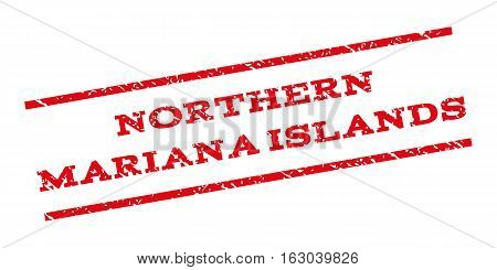 Northern Mariana Islands watermark stamp. Text tag between parallel lines with grunge design style. Rubber seal stamp with unclean texture. Vector red color ink imprint on a white background.
