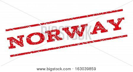 Norway watermark stamp. Text caption between parallel lines with grunge design style. Rubber seal stamp with scratched texture. Vector red color ink imprint on a white background.