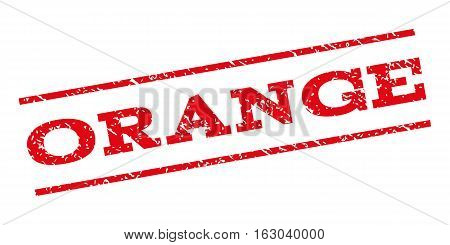 Orange watermark stamp. Text caption between parallel lines with grunge design style. Rubber seal stamp with scratched texture. Vector red color ink imprint on a white background.