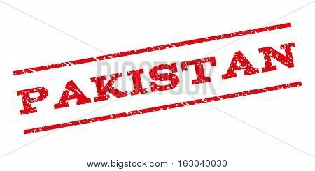 Pakistan watermark stamp. Text tag between parallel lines with grunge design style. Rubber seal stamp with unclean texture. Vector red color ink imprint on a white background.