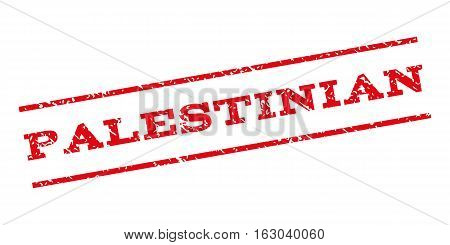 Palestinian watermark stamp. Text tag between parallel lines with grunge design style. Rubber seal stamp with dirty texture. Vector red color ink imprint on a white background.