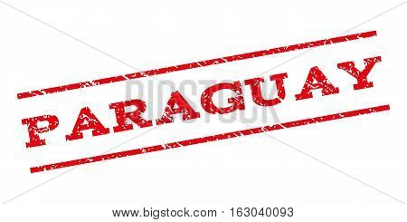 Paraguay watermark stamp. Text tag between parallel lines with grunge design style. Rubber seal stamp with unclean texture. Vector red color ink imprint on a white background.