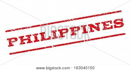 Philippines watermark stamp. Text caption between parallel lines with grunge design style. Rubber seal stamp with unclean texture. Vector red color ink imprint on a white background.