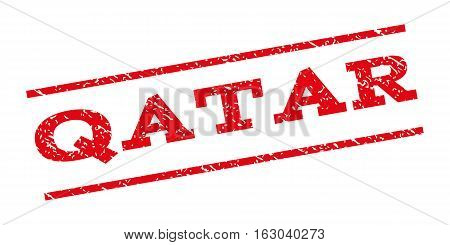 Qatar watermark stamp. Text caption between parallel lines with grunge design style. Rubber seal stamp with dust texture. Vector red color ink imprint on a white background.