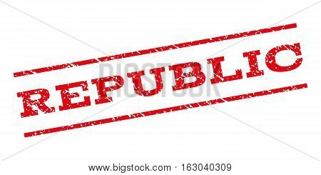 Republic watermark stamp. Text tag between parallel lines with grunge design style. Rubber seal stamp with scratched texture. Vector red color ink imprint on a white background.