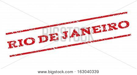 Rio De Janeiro watermark stamp. Text caption between parallel lines with grunge design style. Rubber seal stamp with dust texture. Vector red color ink imprint on a white background.