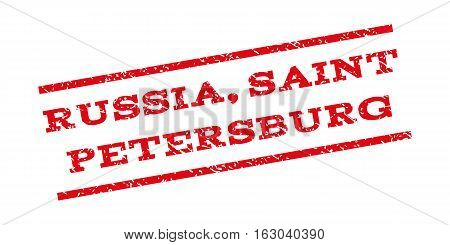 Russia Saint Petersburg watermark stamp. Text tag between parallel lines with grunge design style. Rubber seal stamp with unclean texture. Vector red color ink imprint on a white background.