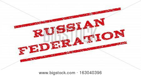 Russian Federation watermark stamp. Text caption between parallel lines with grunge design style. Rubber seal stamp with unclean texture. Vector red color ink imprint on a white background.