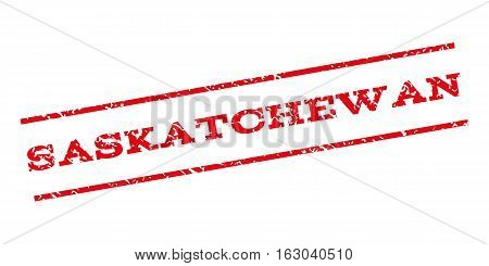 Saskatchewan watermark stamp. Text tag between parallel lines with grunge design style. Rubber seal stamp with unclean texture. Vector red color ink imprint on a white background.