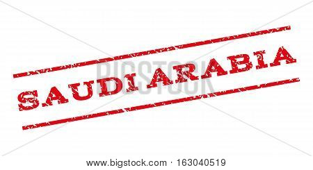 Saudi Arabia watermark stamp. Text tag between parallel lines with grunge design style. Rubber seal stamp with dirty texture. Vector red color ink imprint on a white background.