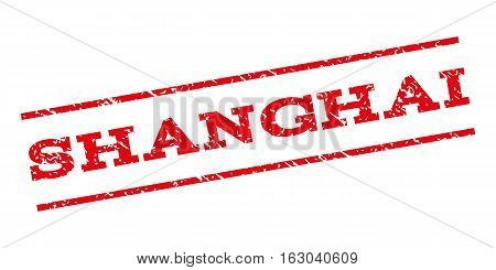 Shanghai watermark stamp. Text caption between parallel lines with grunge design style. Rubber seal stamp with unclean texture. Vector red color ink imprint on a white background.