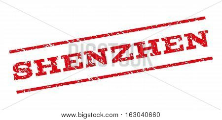 Shenzhen watermark stamp. Text caption between parallel lines with grunge design style. Rubber seal stamp with unclean texture. Vector red color ink imprint on a white background.
