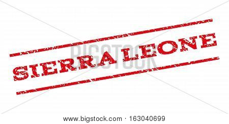 Sierra Leone watermark stamp. Text tag between parallel lines with grunge design style. Rubber seal stamp with unclean texture. Vector red color ink imprint on a white background.