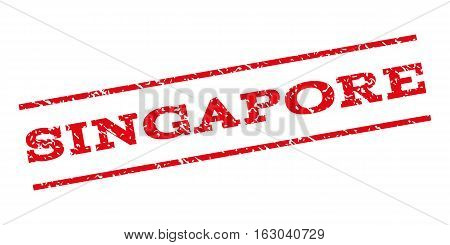 Singapore watermark stamp. Text caption between parallel lines with grunge design style. Rubber seal stamp with dust texture. Vector red color ink imprint on a white background.