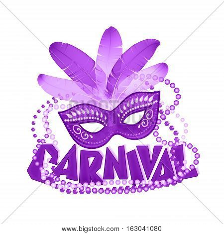 One violet color vector carnival icons mask and sign.