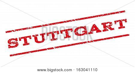 Stuttgart watermark stamp. Text tag between parallel lines with grunge design style. Rubber seal stamp with scratched texture. Vector red color ink imprint on a white background.