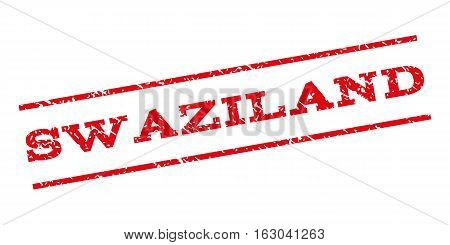 Swaziland watermark stamp. Text tag between parallel lines with grunge design style. Rubber seal stamp with unclean texture. Vector red color ink imprint on a white background.