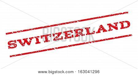Switzerland watermark stamp. Text tag between parallel lines with grunge design style. Rubber seal stamp with scratched texture. Vector red color ink imprint on a white background.