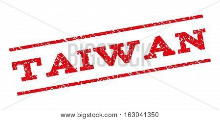 Taiwan watermark stamp. Text tag between parallel lines with grunge design style. Rubber seal stamp with dust texture. Vector red color ink imprint on a white background.