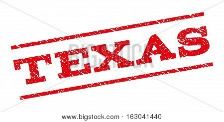 Texas watermark stamp. Text caption between parallel lines with grunge design style. Rubber seal stamp with dust texture. Vector red color ink imprint on a white background.