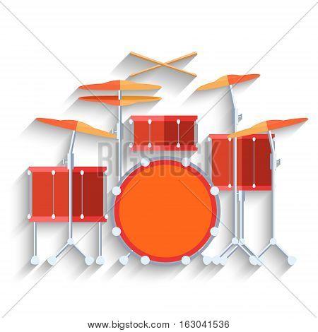 Drum kit icon. Flat design long shadow. Vector illustration.