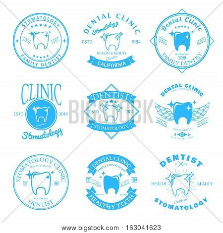 Set of dental clinic logo templates. Dental labels with sample text. Dental icons for stomatology, dentist and dental care clinics. Vector logotype design. Vector illustration